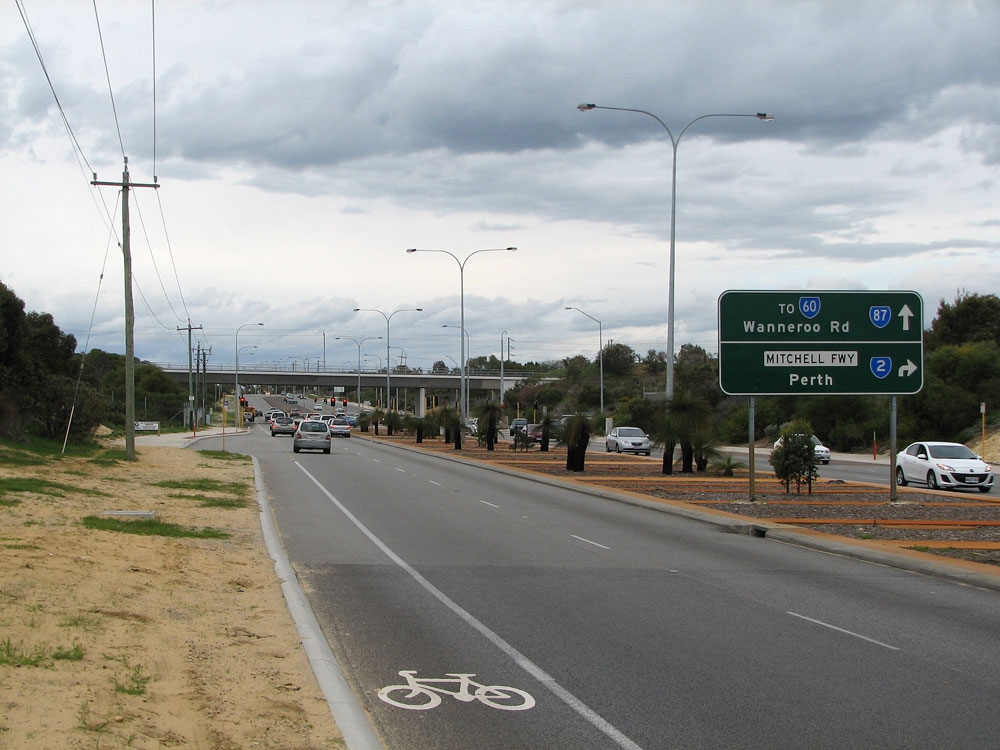 Ad Sign Eastbound On Burns Beach Road Approaching The Junction With Mitchell Freeway Currambine The Legend To Sr Wanneroo Rd Is On A Coverplate